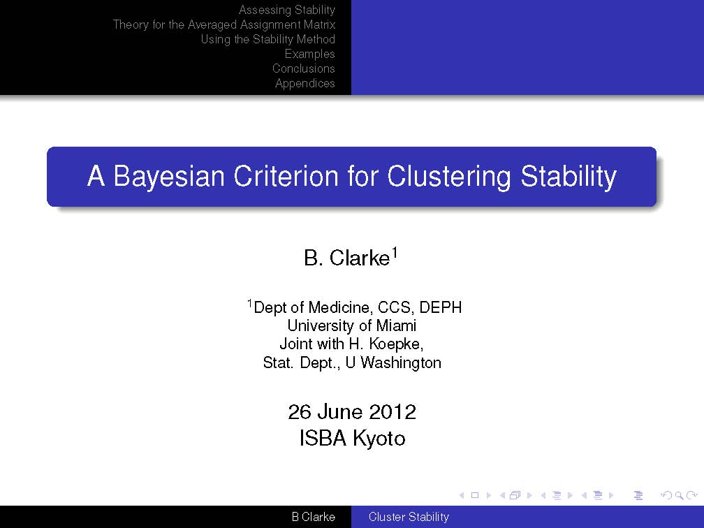 A Bayesian Criterion for Clustering Stability