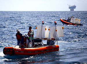 Researchers launch plastic drifters in the Gulf of Mexico in 2012 CARTHE