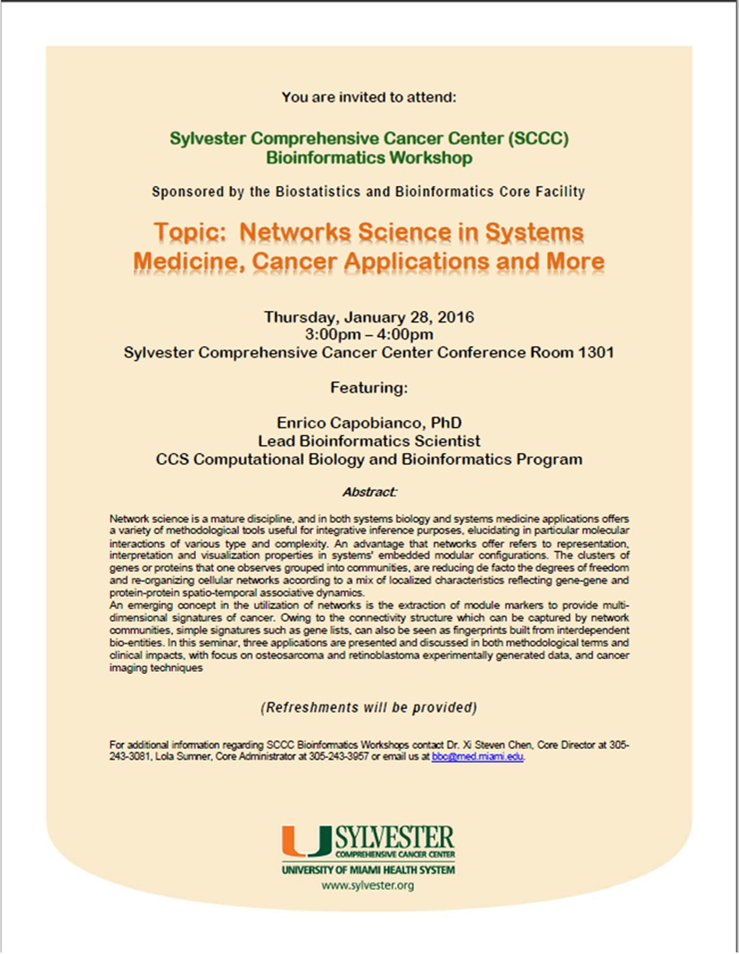Networks Science in Systems Medicine Cancer Applications and More  seminar flyer Enrico Capobianco