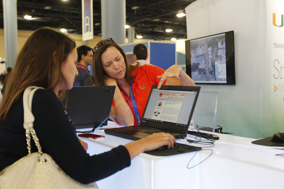 University of Miami Center for Computational Science digital mapping display at eMerge Americas