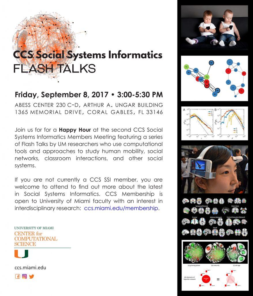 University of Miami Center for Computational Science Social Systems Informatics Program meeting September 8 2017 invitation