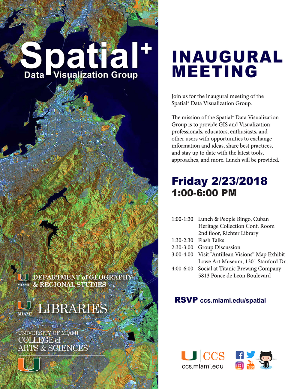 University of Miami Center for Computational Science Spatial+ Data Visualization Inaugural Meeting Flyer