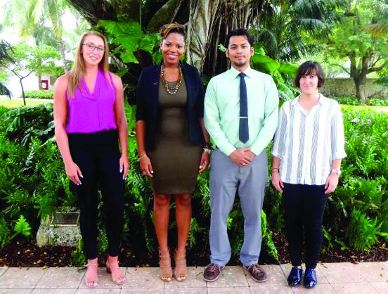 2017-18 UGrow Fellows: (left to right): Kerri-Leanne Taylor, Koi James, Alok Amatya, Elena Bonmatí Gonzálvez