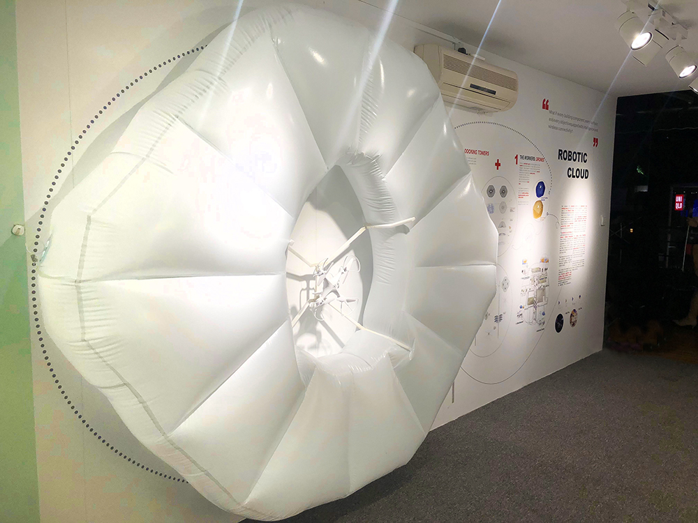WIEE 2018 World Innovation and Entrepreneurship Expo, Shanghai, Makers Pavilion container display featuring University of Miami School of Architecture RAD-UM Lab robotic cloud