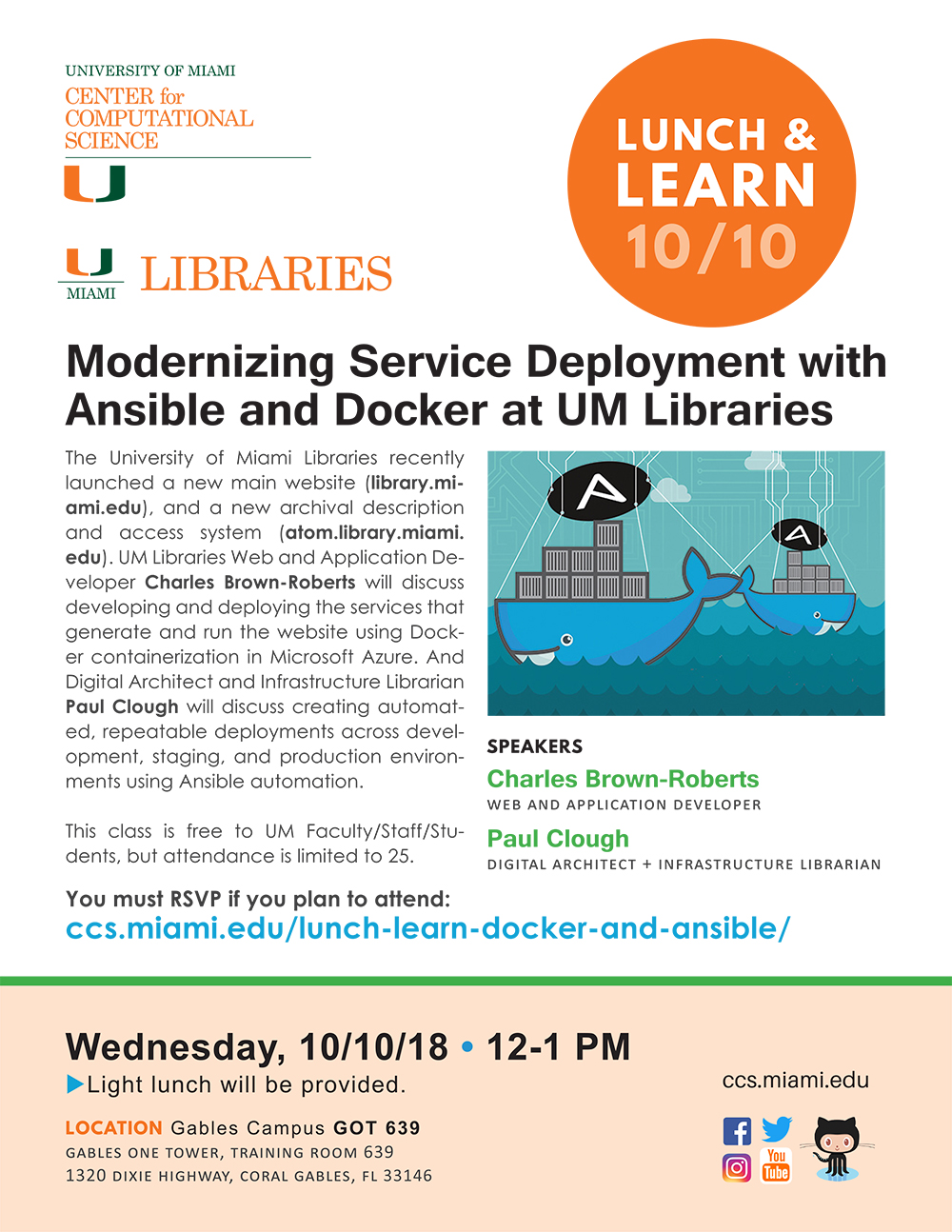 """University of Miami Center for Computational Science Lunch and Learn """"Modernizing Service Deployment with Ansible and Docker at UM Libraries"""" Flyer"""