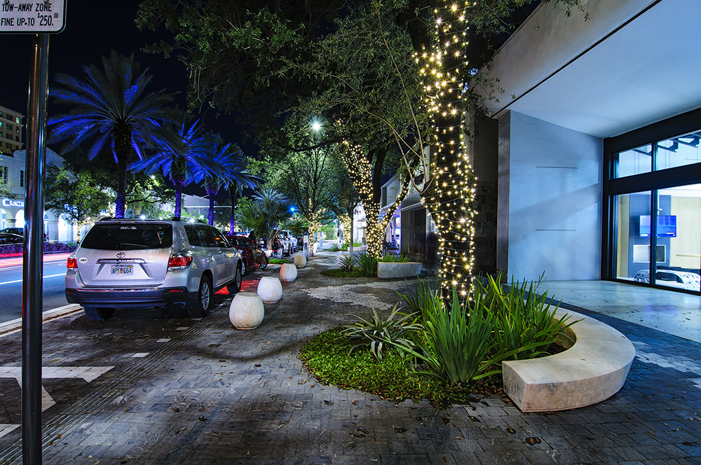 Coral Gables storefront at night