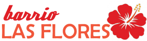 barrio Las Flores logo with red hibiscus