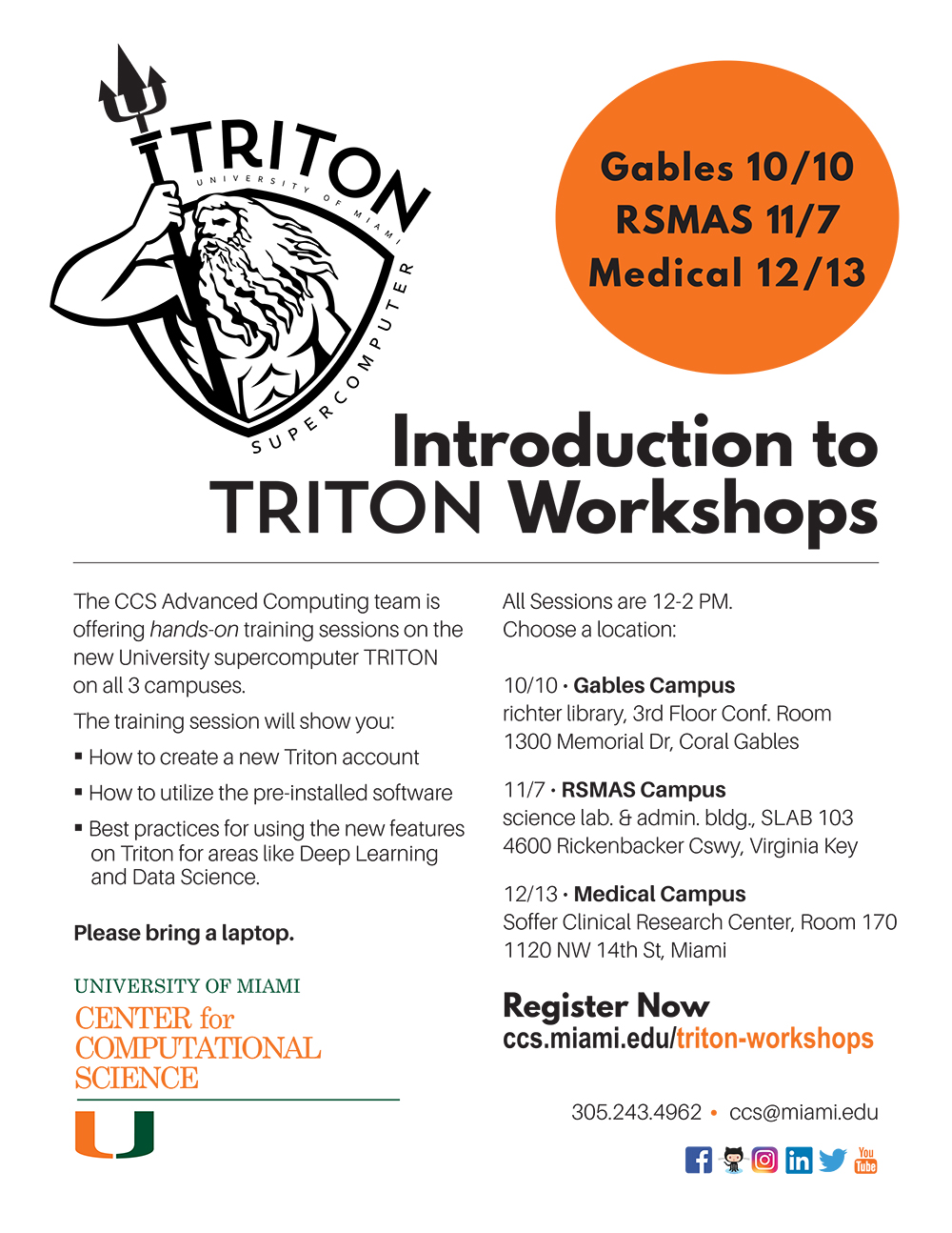 University of Miami Center for Computational Science Introduction to TRITON Workshops flyer