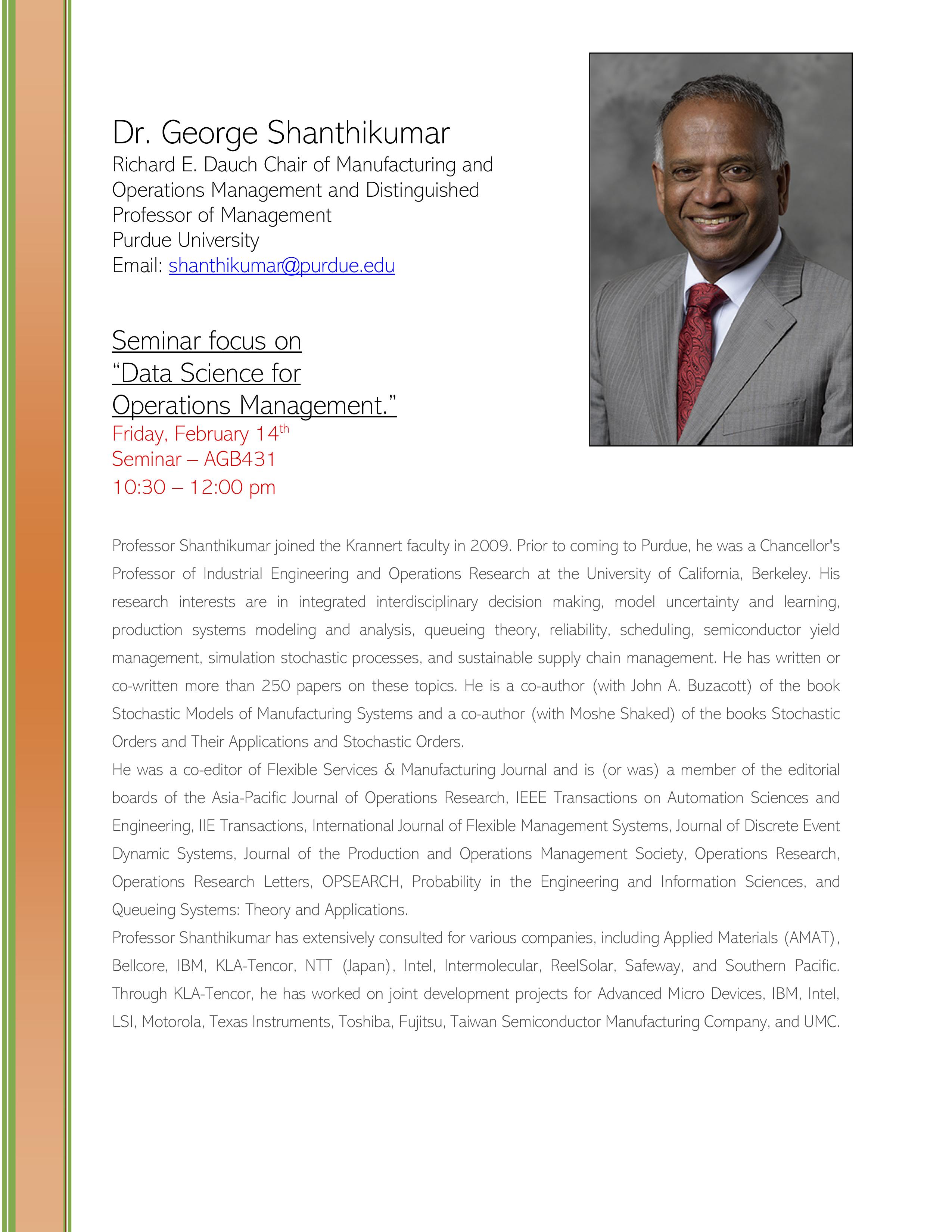 Dr. George Shanthikumar lecture FLYER